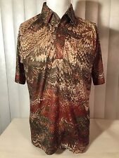 Vintage 70s Psychedelic Lilly Dache Polyester Disco Pimp Pullover Raglan Shirt M