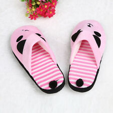 Lovely Cartoon Panda Home Floor Soft Stripe Slippers Female Shoes Pink