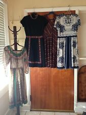 VINTAGE DRESS LOT 1970s SHEER DISCO POLYESTER FLORAL GEOMETRIC S M