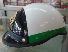 NEU!! CASCO ELMETTO-MUNICIPAL-MOTORCYCLE HELMET WHITE BLACK-GREEN- HALF-SCHWARZ#