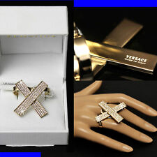 GIANNI VERSACE Ladies GOLD / DIAMOND CRYSTAL DOUBLE RING w/ Box & Tag