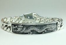 "7.5"" 76g HEAVY CUBAN CURB CHAIN LINK DRAGON ID STERLING SILVER 925 MENS BRACELET"