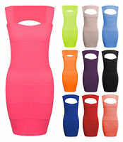 UK WOMENS SEXY SLIM BODYCON BANDAGE DRESS LADIES PARTY PENCIL DRESS SIZE 8 - 14