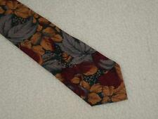 "Burgundy Wine Mens 54"" Tie Floral Flora Bugle Boy 4"" Classic NEW"
