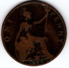 1899 QUEEN VICTORIA ONE PENNY 1d - BUN HEAD COIN (e)