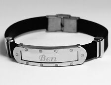 BEN - Mens Bracelet With Name - Silver Tone With Frame - Birthday Personalised