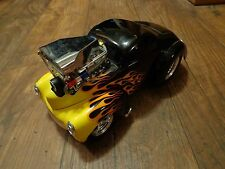 1/18 SCALE--MUSCLE MACHINES--BLACK W/ FLAMES '41 WILLYS COUPE CAR (LOOK) LIMITED