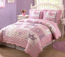 BUTTERFLY PRINCESS Twin (single) QUILT SET : GIRLS PINK PURPLE CASTLE COMFORTER