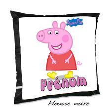 Coussin noir PEPPA PIG V2 avec le prénom de votre choix