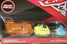 "DISNEY PIXAR CARS 3 ""MCQUEEN AS CHESTER WHIPPLEFILTER / LUIGI & GUIDO W/ CLOTH"""