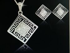"NEW WOMEN'S GREEK KEY 18"" NECKLACE AND EARRING SET RHINESTONES SILVER COLOR"