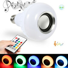 12W E27 LED RGB Bluetooth Speaker Bulb Light Music Player Lamp +24 Key Remote JS