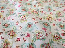 "Pale Green English ""High Tea"" Summer Teacups 100% Cotton Poplin Fabric."