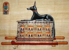 Egyptian Hand-Painted Papyrus Artwork: Reclining Anubis from King Tut's Tomb