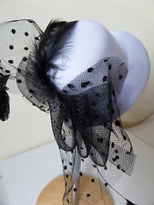 WHITE MINI HAT BLACK SPOT BOW FEATHERS DIAMANTE WEDDING BURLESQUE FASCINATOR new