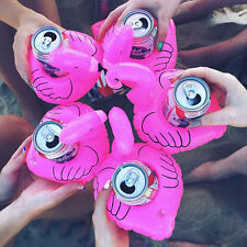 Mini Cute Pink Flamingo Floating Inflatable Drink Can Holder Pool Bath Toy Party