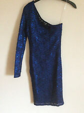 Women's Lipsy Sparkly Blue One Shoulder Lace Mini Dress, Size 6, BNWT