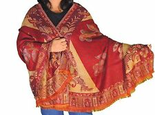 Maroon Floral Fashion Wool Shawl Ladies Evening Dress Wrap Afghan Big Scarf 80""