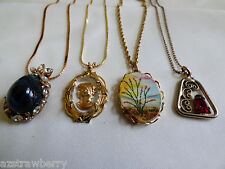 Lot of 4 VTG gold tone metal chains & pendants Cameo rhinestones glass necklaces