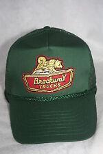 BROCKWAY TRUCKERS HAT,GOLD METALLICK THREAD,ADJUSTABLE SIZING DARK GREEN