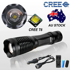AU 5000LM T6 Flashlight Waterproof Torch Hunt Camping Light Lamp Battery Kit New
