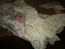 CROSCILL VICTORIA LACE ELIZABETH LACE FLORAL RIBBONS PINK GREEN ROUND TABLECLOTH