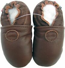 carozoo solid brown 18-24m soft sole leather baby shoes