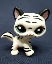 RARE Littlest Pet Shop LPS Sabertooth Tiger White Black Cat #1498 Blue Eyes