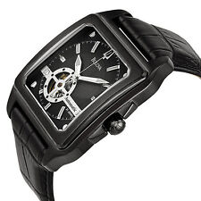 New Mens Bulova 98A130 Automatic Open Heart Black ION Skeleton Leather Watch