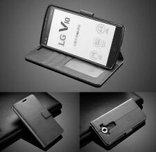 For LG V10 PU Leather Flip Wallet Case Protective Cover Stand Pouch Folio BLACK