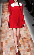 NWT Valentino Runway Accordion Pleated Plisse Trapeze Red & White Dress 48 10 12