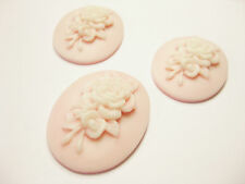 3 pcs Floral Pink Portrait Oval Resin Cameo Cabochon