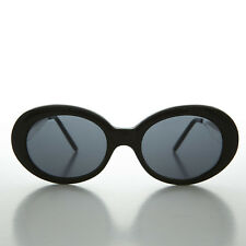 Vintage Mod Nirvana Oval Cat Eye Kurt Cobain Sunglasses NOS Black & Gray-SILVA