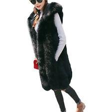 Fur Vest Winter Warm Hooded Long Fit Waistcoat Sleeveless Coat Women Outwear Hot