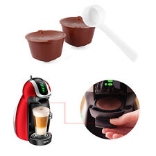 2pcs Refillable Nescafe Dolce Gusto Coffee Capsules Pods Filters Cup + Spoon GH