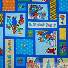 BonEful Fabric FQ Cotton Quilt Berenstain Bear Birthday Book Family Tree House L