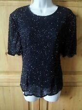 STUNNING SIZE 12 BEADED BLUE COCKTAIL CRUISE EVENING TOP