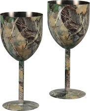 Camo Wine Glasses, Fall Transition,set of two,Stainless steel