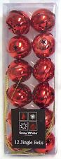 Red 12 Jingle Bells For Christmas Tree Decoration Metallic Finishes Xmas Charms