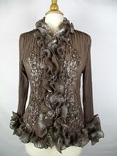 PRETTY ANGEL Sz L Brown Ruffle Trim Blouse Crinkly Silk Blend Top Shirt
