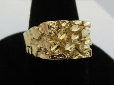 SIZE 6 MENS 14 KT GOLD PLATED DESIGNER NUGGET SQUARED OFF RING STYLE 1