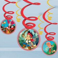 JAKE AND THE NEVERLAND PIRATE PARTY HANGING SWIRLS - PACK OF 6