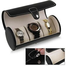 Travel Black Bracelets Roll Organizer Case Storage 3 Slot Box Bangle Watch