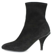 PRADA $575 Black Stretch Suede Side Zip Pointed Toe Ankle Boots 38.5
