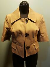 The Limited Mocha Brown Cotton Lined Three Button Cropped Jacket Coat XS MINT