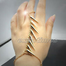 Spike Finger Ring Hand Harness Slave Bracelet Chain Link Bangle Gold Jewelry