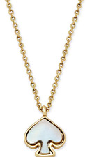 KATE SPADE 12K Gold Plated Signature Imitation Mother-Of-Pearl Pendant Necklace