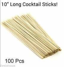 "100 Pcs 10"" Long Bamboo Cocktail Party Sticks, Kebab Skewers, Long BBQ Barbeque!"
