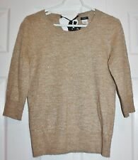 J Crew Beige Gold Alpaca Metallic ¾ Sleeve Sweater Pull Over Boat Neck Size M