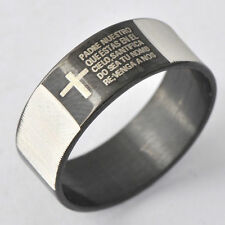 Mans Black Stainless Steel Carve Cross Holy Bible Stripe Punk Band Ring Size 9